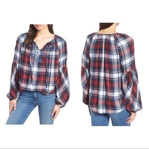 Vince Camuto Embroidered Plaid Peasant Blouse L